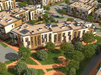 Вид на малоэтажные корпуса ЖК Май сверху